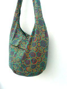 Shoulder Bag Bohemian Bag Dark Red Green Orange Color Bag Messenger Bag Hippie Hobo Crossbody Bag Boho Purse Sling Thai art Gift Bag by Avivahandmade on Etsy