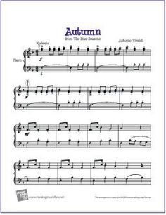 Autumn (Four Seasons) by Antonio Vivaldi | Free Sheet Music for Easy Piano - http://makingmusicfun.net/htm/f_printit_free_printable_sheet_music/autumn-piano.htm