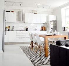 Fabulous white open plan kitchen dinning and living rooms