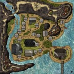 Harpy Cliffs town layer building interiors cave level and cliff level A coastal village with a serious harpy Fantasy city map Pathfinder maps Fantasy map