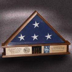Walnut Flag Display Case//Frame//Shadow Box 5x9 Funeral//Casket Military//Veteran