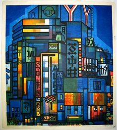 Woodblock print by Clifton Karhu, Tokyo
