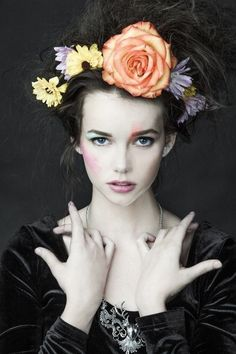 wolfdancer: MaeMae with Flowers in her hair - Romantic Flower Crown ~ Photography Women, Portrait Photography, Fleur Orange, Floral Fashion, Portrait Inspiration, Model Photographers, Belle Photo, Flowers In Hair, Color Splash