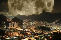 Unbelievable Shot Of The 2012 Supermoon In Rio de Janeiro. I don't know if this is real or not, but it's still beautiful.
