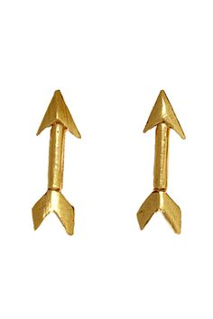 "Simple and fun -- dainty arrow stud earrings. Gold plated bronze. Handmade in Turkey. .5"" LTiklari collaborates with artisans in Turkey using traditional jewelr"