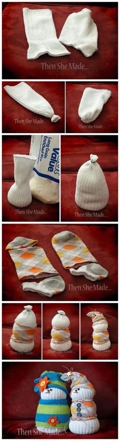 Don't throw away your old, white socks! Upcycle them to create this funny, little Sock Snowman to cheer you abd your kids up this winter! Easy and Fun DIY Christmas crafts for You and Your Kids to Have Fun. Sock Snowman, Snowman Crafts, Cute Crafts, Christmas Projects, Holiday Crafts, Crafts For Kids, Diy Crafts, Snowmen, Christmas Ideas