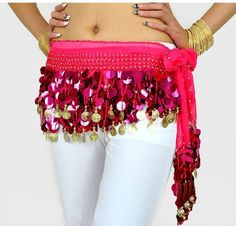 Big Saving Belly Dance Hip Scarf  Gold Coins Wave  Deluxe Vhape Pink Rose -- Read more reviews of the product by visiting the link on the image. Note: It's an affiliate link to Amazon.