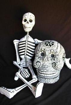 Papier Mache Skeleton Folk Art for Day of the Dead - skeletons, skulls, masks & more