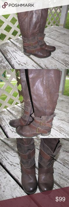 Boutique 9 Floyde Dbl Buckle Moto Boot Boutique 9 updated motorcycle boots, knee-high with zip. Supple leather overlay with back elastic goring is cinched with 2 buckles. Some obvious wear and scuffs in the leather. Otherwise, in great condition! Size US 7.5 Boutique 9 Shoes Combat & Moto Boots