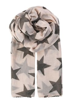 Becksondergaard Rosewood Fine Twilight Scarf: A beautiful pale pink& grey star print scarf from Danish brand Becksondergaard.This Rosewood colour way is easy to wearand the soft cotton fabric makes it lightweight.