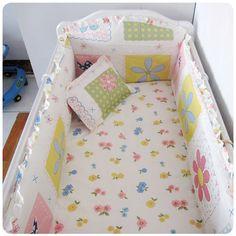 Promotion! 6PCS Cot bedding sets crib set 100% cotton nursery bedding bed linen (bumper+sheet+pillow cover)