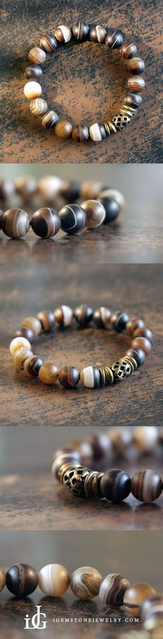 Ethnic-Style Agate Onyx Bead Bracelet Handmade Jewelry Accessories Women Men