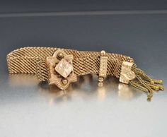 Antique Victorian Slider Bracelet Gold Filled Tassel Mesh