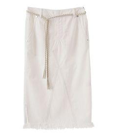 The Virgnia(ザ ヴァージニア)の裾フリンジデニムタイトスカート(スカート)|オフホワイト