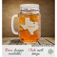 Personalized Mason Jar Laser Etched Hometown Design ($9.50) ❤ liked on Polyvore featuring home, kitchen & dining, drinkware, drink & barware, grey, home & living, mugs, personalized glassware, heart mug and valentine mug