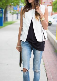 White leather vest and jeans
