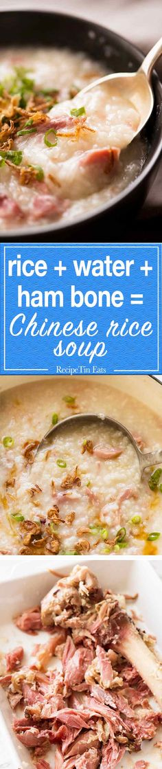 Chinese Ham Bone Rice Soup (Congee) Rice water ham bone = Chinese Ham Congee aka Chinese Ham Rice Soup (yes it's a real thing) Slow Cooker Recipes, Crockpot Recipes, Soup Recipes, Cooking Recipes, Ham Recipes, Savoury Recipes, Slow Cooking, Ham Bone Soup, Recipetin Eats