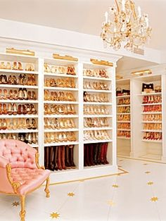 The ultimate shoe collection / walk-in closet! If I ever have this many shoes! Lord help me! lol