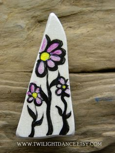 Pink Daisies hand painted sea pottery fridge by twilightdance (Home & Living, Kitchen & Dining, Kitchen Décor, Refrigerator Magnets, sea pottery, sea pottery magnet, handpainted, hand painted, fridge magnet, sacred geometry, flowered, pink, daisies, daisy, black, avant garde, magnet)