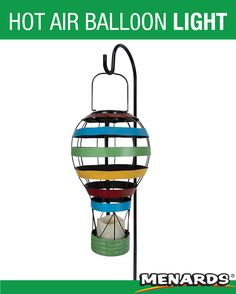 This Patriot Lighting® Solar LED Hot Air Balloon with included shepherd hook features a delightful multi-colored design and is sure to stand out in your yard, garden, or flower bed. Balloon Lights, Hot Air Balloon, Balloons, Outdoor Fun, Outdoor Lighting, Solar Led, Landscape Lighting, Landscaping, Yard