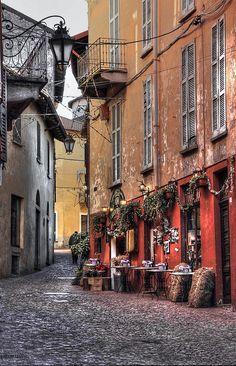 city of Luino - northern Italy - Lombardy. Centro storico di Luino