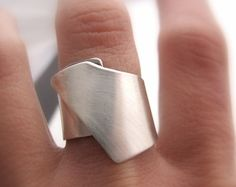 Large bande géométrique argent bague en argent Sterling anneau cadeau moderne pour sa Simple élégant chaque jour
