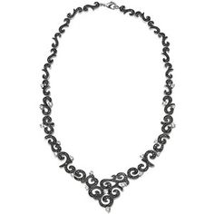 Le Vieux Marcasite & Cubic Zirconia Silver-Plated Swirled V Necklace (Black)