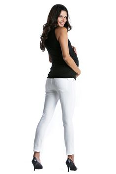 Skinny 5 Pocket Maternity Jeans - White by Lilac | Maternity Clothes    Available at Due Maternity www.duematernity.com