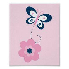 Butterfly Flower Pink Navy Nursery Wall Print
