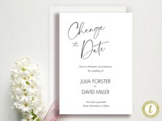 Change The Date - Change of Plans - Wedding Cancellation Announcement - Postponed - Garden Greens Download, YOU PRINT Announcement, Wedding Planning, Dating, Place Card Holders, Change, How To Plan, Garden, Handmade Gifts, Etsy