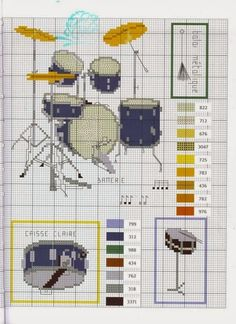 Schemi punto croce vari strumenti musicali a percussione   Hobby lavori femminili - ricamo - uncinetto - maglia