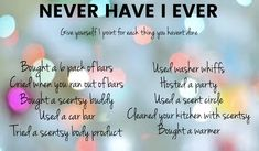Play this version with your Scentsy Consultant! Facebook Party, For Facebook, Scentsy Australia, Scentsy Games, Country Scents Candles, Interactive Posts, Never Have I Ever, Consultant Business, Party Ideas