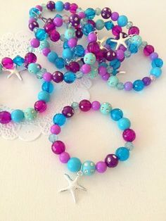 Set of TEN 2019 Mermaid party favor starfish kids jewelry bracelet. Set of TEN. The post Mermaid party favor starfish kids jewelry bracelet. Set of TEN 2019 appeared first on Jewelry Diy. Holi Party, Little Mermaid Parties, The Little Mermaid, Mermaid Kids, Little Mermaid Crafts, Kids Jewelry, Jewelry Crafts, Jewelry Party, Kids Bracelets
