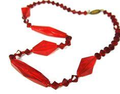 Red Czech Glass Bead Crystal Choker Necklace Art Deco