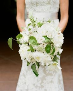 beautiful white bouquet with leaves