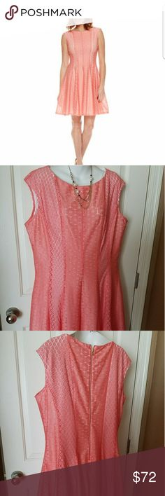 Lace A-line dress Coral lace with white lining underneath Danny and Nicole Dresses