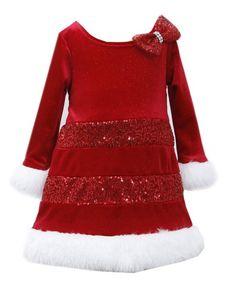 ed82e17464f5 Ella Blu Store - Bonnie Jean Santa Christmas Red Bow Dress Girls 12 18 24  Months