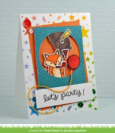 Lawn Fawn party animal card by Jessica Spencer