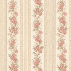 Vintage Rose englische Landhaus Satintapeten Streifen Rosen Art.-Nr.: 68316