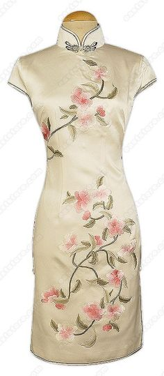 Floral Embroidered Cap Sleeves Silk Cheongsam : EastStore.com