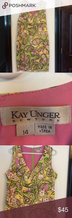 Kay Unger New York Paisley Summer Dress 14 Kay Unger New York Paisley Summer Dress, size 14, Sleeveless, Zippered in back, Lined, Greens, Yellow, White and Purple Paisley, great with heels or sandals, dress it up or keep it casual. Kay Unger Dresses Midi