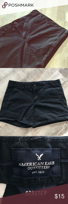 Black AE Stretch Shorts Black American Eagle midi stretch shorts. These shorts are in great condition. There is a slight bit of wrinkle at the bottom from being worn rolled up, but it could easily be ironed back. These shorts are great for a comfortable wear or as shorts for work. American Eagle Outfitters Shorts