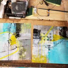 And Im Loving how my blue/green/yellow #abstractsonyupo turned out! It was a great day painting and hanging out during the open studio…