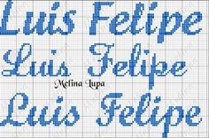 nome luís felipe bordado em ponto cruz - Pesquisa Google Math, Cross Stitch Embroidery, Monograms, Quilt Cover, Layette, Letter L, Dressmaking, Math Resources, Early Math