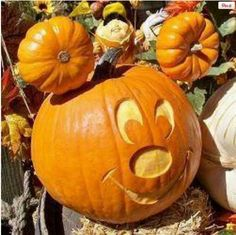 Mickey pumpkin, because who doesn't LOVE Mickey Mouse??