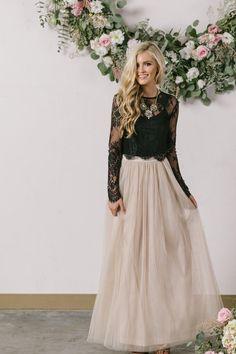 Anabelle Beige Full Tulle Maxi Skirt - Morning Lavender