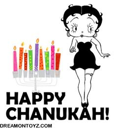 Happy Chanukah!  More Betty Boop graphics and greetings: http://bettybooppicturesarchive.blogspot.com/  ~And on Facebook~ https://www.facebook.com/bettybooppictures  Vintage black and white Betty Boop with colorful menorah