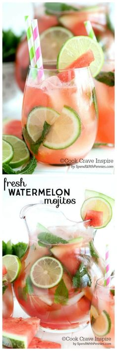 Fresh Watermelon Mojitos!  Fresh watermelon, lime, mint and soda make the perfect summer cocktail!