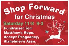 Shop Forward for Christmas is a fundraiser benefitting Matthew's Hope, Accept Pregnancy, and Alzheimer's Association.   Do your Christmas shopping with a wide variety of vendors and a portion of sales goes directly to these worthy causes. 1450 Daniels Road, Winter Garden, FL  Saturday, 11/8.
