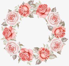 Frame Floral, Flower Frame, Wreath Watercolor, Watercolor Flowers, Molduras Vintage, Decoupage Printables, Wreath Drawing, Flower Phone Wallpaper, Flower Clipart